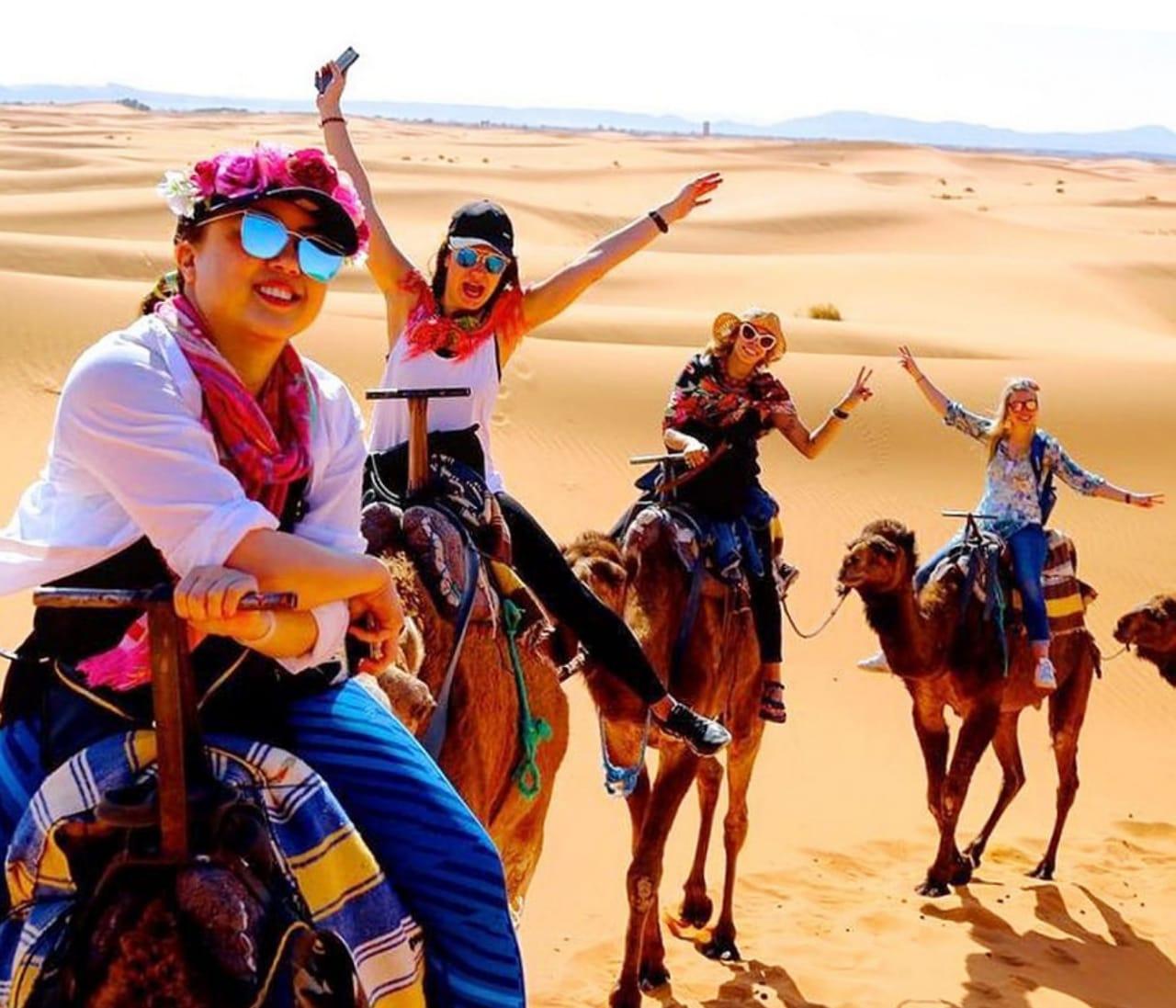 overnight camel trekking in sahara desert
